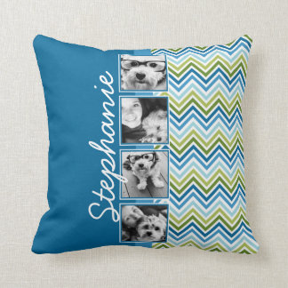 Instagram Photo Collage Colorful Chevrons Throw Pillow
