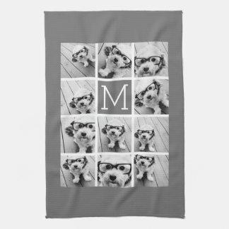 Instagram Photo Collage Custom Monogram Charcoal Towel