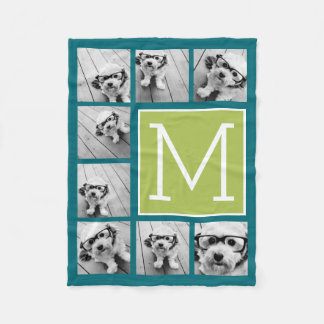 Instagram Photo Collage Monogram - Blue and Lime Fleece Blanket