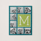 Instagram Photo Collage Monogram - Blue and Lime Jigsaw Puzzle