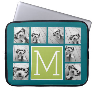 Instagram Photo Collage Monogram - Blue and Lime Laptop Sleeve