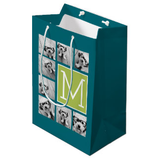 Instagram Photo Collage Monogram - Blue and Lime Medium Gift Bag