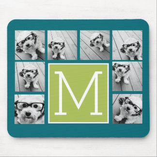 Instagram Photo Collage Monogram - Blue and Lime Mouse Pad