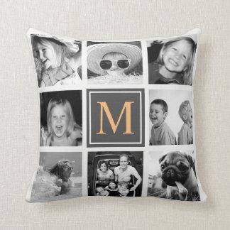 Instagram Photo Collage Monogram Custom Cushion