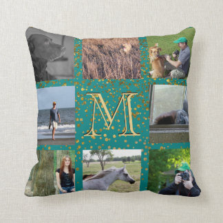 Instagram Photo Collage | Teal Gold Dots Monogram Cushion