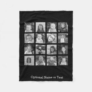 Instagram Photo Collage - Up to 16 photos Black Fleece Blanket