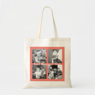 Instagram Photo Collage with 4 pictures - coral Budget Tote Bag