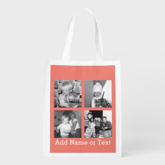 Instagram Photo Collage with 4 pictures - coral Reusable Grocery Bag