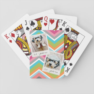 Instagram Photo Collage with Colorful Chevrons Playing Cards