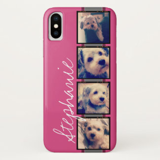 Instagram Photo Display - 4 photos pink name iPhone X Case