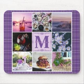 Instagram Photo Grid Purple Plaid Spring Hygge Mouse Pad