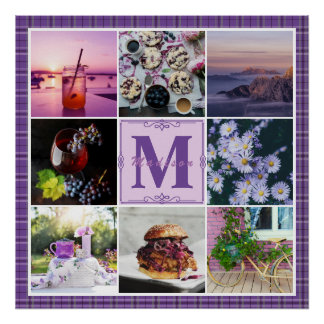 Instagram Photo Grid Purple Plaid Spring Hygge Poster