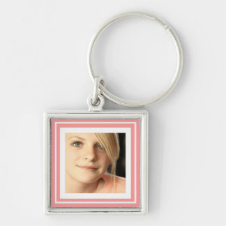 Instagram Photo in Squares matching background Silver-Colored Square Key Ring