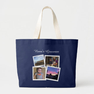 Instagram Photo Navy Blue Large Large Tote Bag