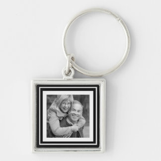 Instagram Photo Squares Choose Background Color Silver-Colored Square Key Ring