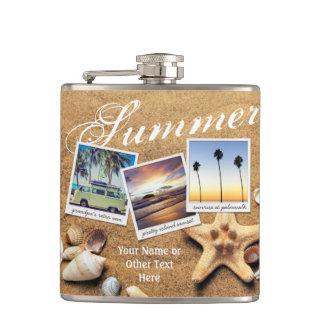 Instagram Photo Template Summer Sand Seashells Hip Flask