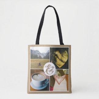Instagram Rustic Burlap Personalized Photo Grid Tote Bag