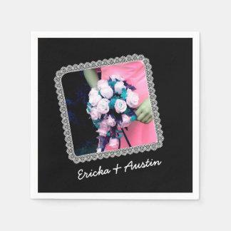 Instagram Wedding Photo Black with Lace Frame B11 Paper Serviettes