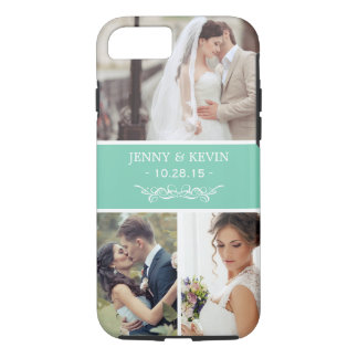 Instagram Wedding Photo Collage Chic Teal Green iPhone 7 Case