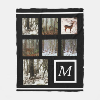 Instagram  your pictures custom collage monogram fleece blanket