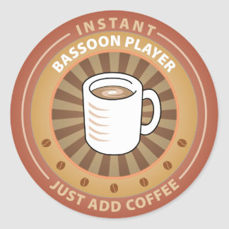 Instant Bassoon Player Classic Round Sticker