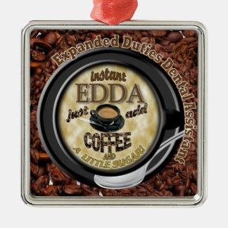 INSTANT EDDA ADD COFFEE Silver-Colored SQUARE DECORATION