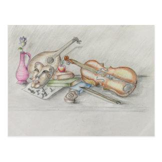 Instruments music postcard