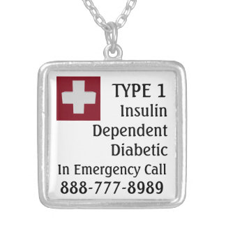 Insulin Dependent Diabetic TYPE 1 Medic Cross Silver Plated Necklace