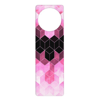 Intense Pink & Black Geometric Design Door Hanger