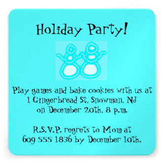 Interfaith Holiday Party invitation with snowman