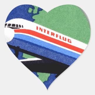 INTERFLUG - National Airline of DDR, East Germany Heart Sticker