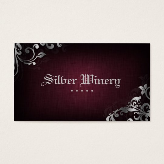 Interior Design Business Card Linen Wine Silver