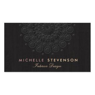 Interior Design Elegant Embossed Motif Look Black Pack Of Standard Business Cards