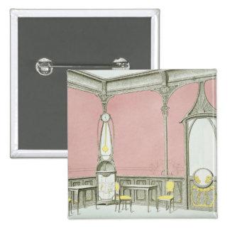 Interior design for a brasserie, illustration from 15 cm square badge