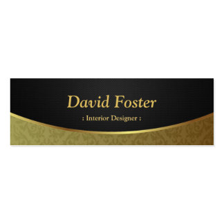 Interior Designer - Black Gold Damask Pack Of Skinny Business Cards