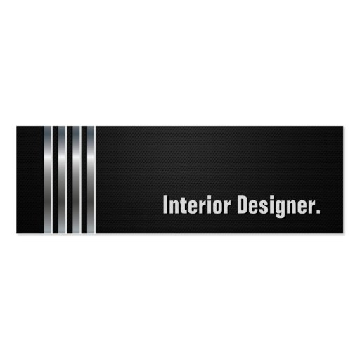 Interior Designer - Black Silver Stripes Business Card Template