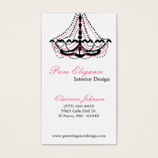 Interior Designer Pink Chandelier Business Card