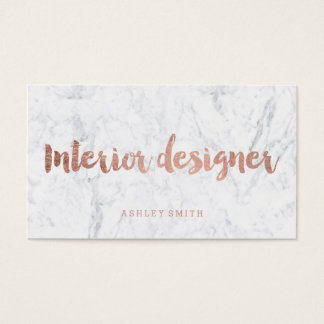 Interior designer rose gold typography marble