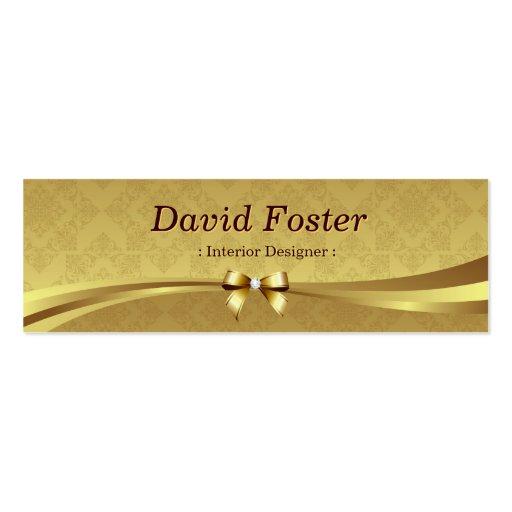 Interior Designer - Shiny Gold Damask Business Cards