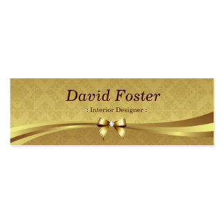 Interior Designer - Shiny Gold Damask Pack Of Skinny Business Cards