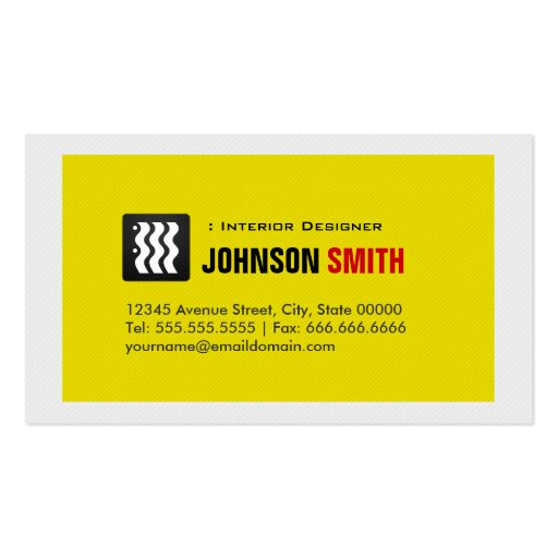 Interior Designer - Urban Yellow White Business Card Templates