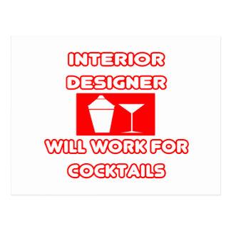 Interior Designer...Will Work For Cocktails Postcards