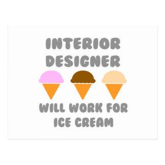 Interior Designer ... Will Work For Ice Cream Postcard