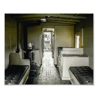 Interior Look of an Old Railroad Car Photographic Print