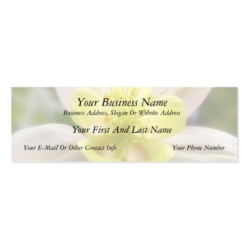 Interior Of A Delicate Columbine Business Card Template