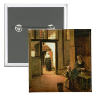 Interior of a Dutch House (oil on panel) 15 Cm Square Badge