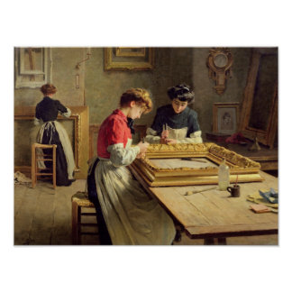 Interior of a Frame Gilding Workshop Poster