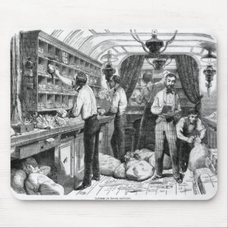 Interior of a French railway postal wagon Mouse Pad