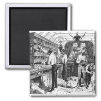 Interior of a French railway postal wagon Square Magnet