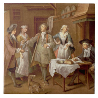 Interior of a Kitchen with Figures Tasting Wine Large Square Tile